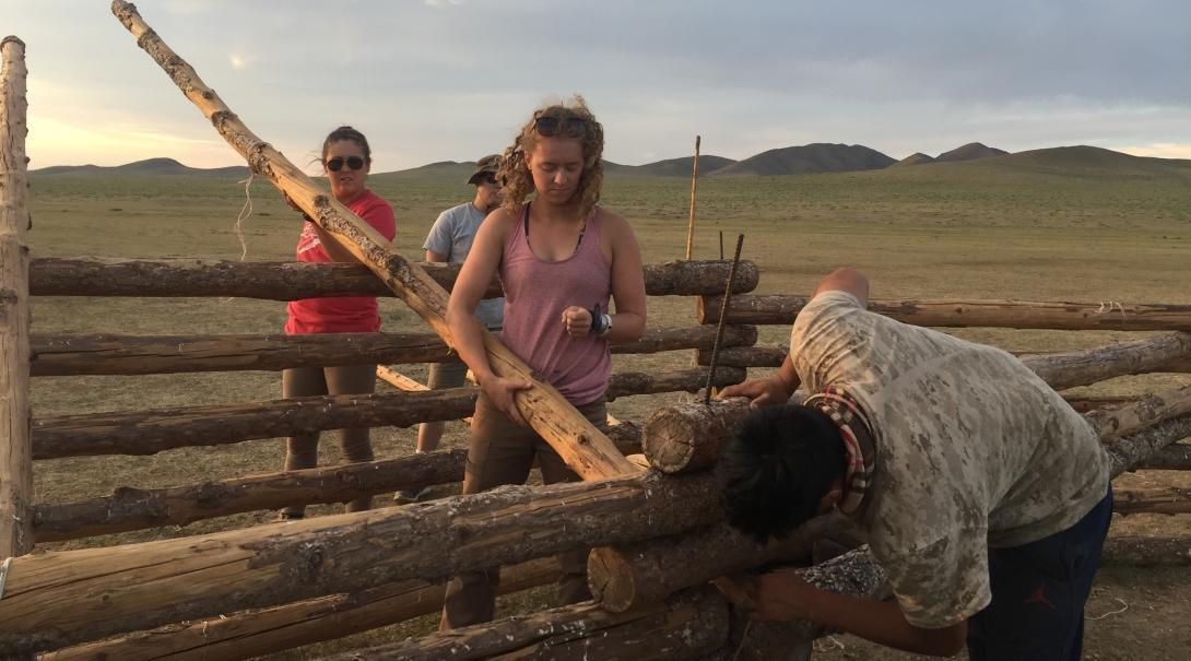Culture and Community Volunteers are building a fence out of wood on a Nomad Project in Mongolia.
